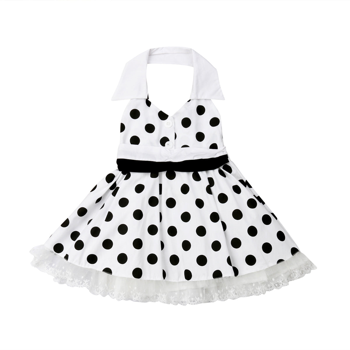 Polka Dot Halter Neck Dress