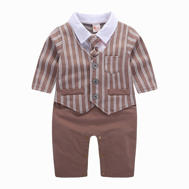Brown Stripe Suit Romper
