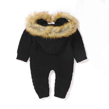 Fur Hood Knitted Jumpsuit