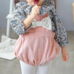 Girls Floral Ruffle Collar Blouse