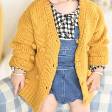 Load image into Gallery viewer, Girls Pompom Knitted Cardigan