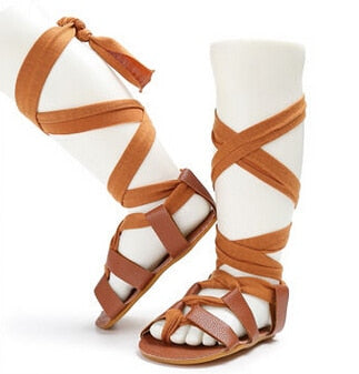Leather Bandage Sandals - Hard Sole