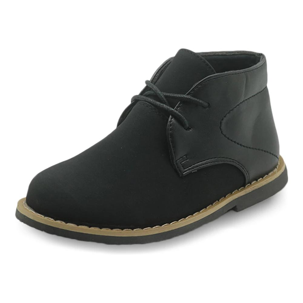 Leather Patched Boys Ankle Boots