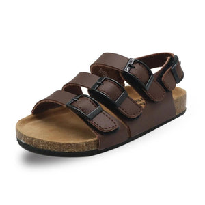 Leather 3 Strap Buckle Sandals