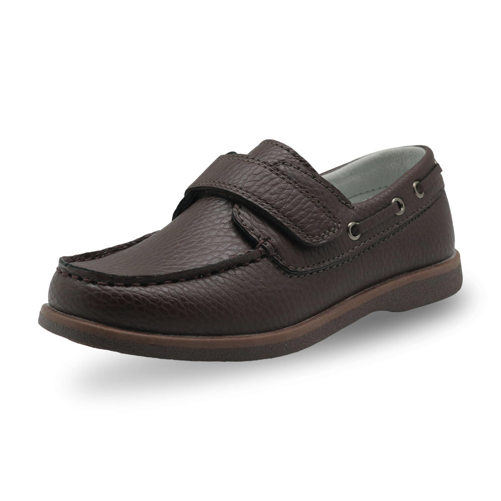 Leather Velcro Strap Moccasin Loafers