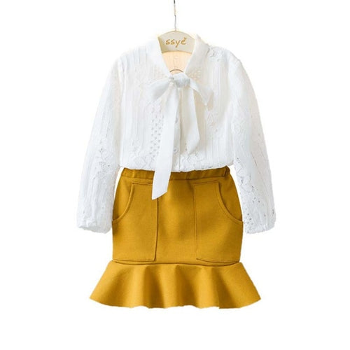 Lace Blouse and Mustard Frill Skirt set