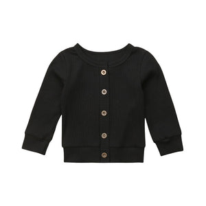 Girls Ribbed Button Cardigan
