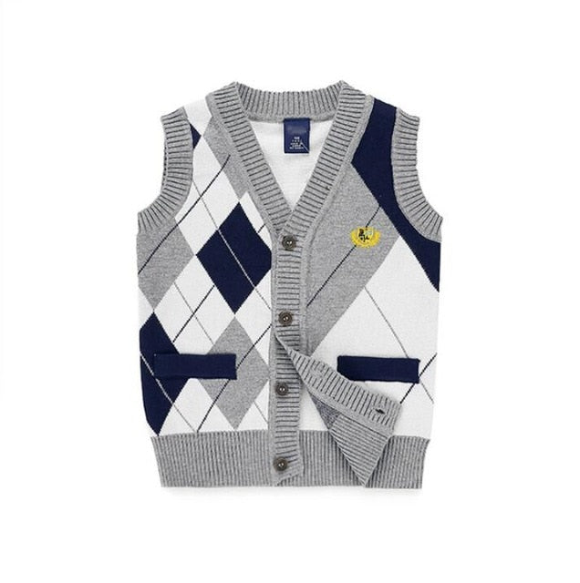 Boys Checked Sweater Vest