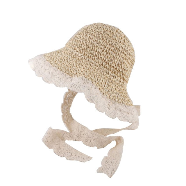 Lace Trim Straw Bonnet