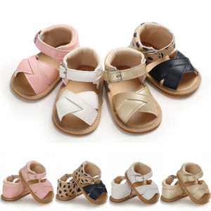 Baby Leather Cross Front Sandals - Hard Sole