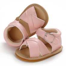 Load image into Gallery viewer, Baby Leather Cross Front Sandals - Hard Sole