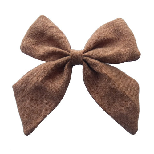 Plain Linen Sailor Hair Bow - 4.5