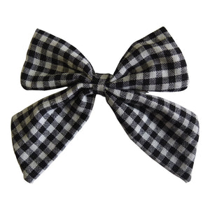 "Linen Checked Sailor Hair Bow - 4.5""/11cm"