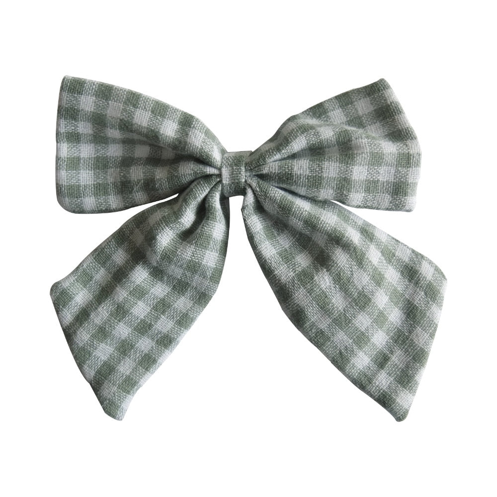 Linen Checked Sailor Hair Bow - 4.5