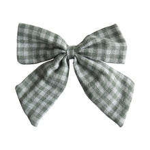 "Load image into Gallery viewer, Linen Checked Sailor Hair Bow - 4.5""/11cm"