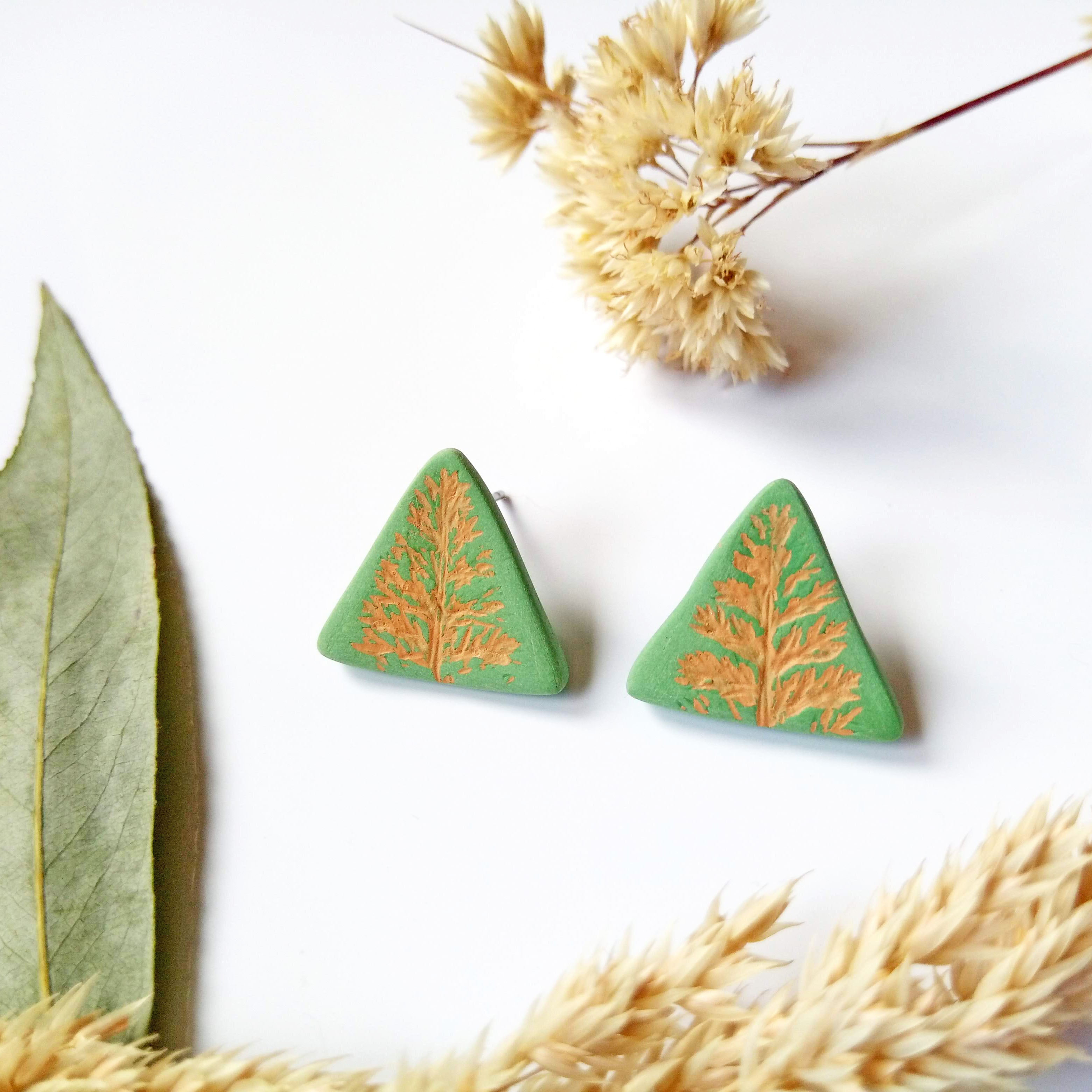 Green & Rust Stud Earrings