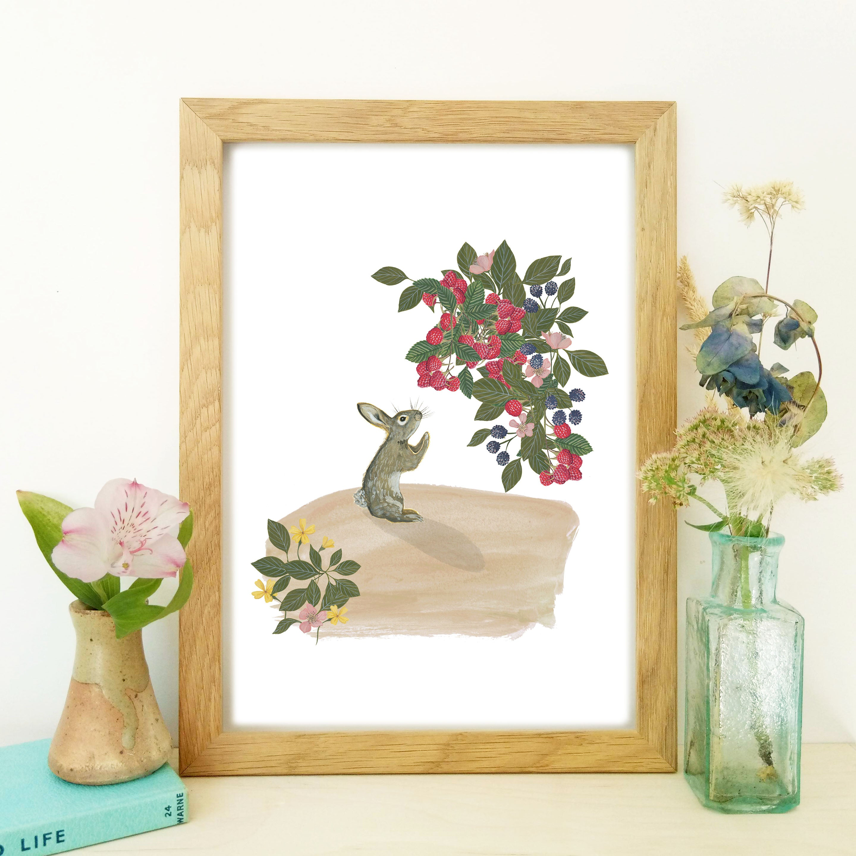 Rabbit and Raspberries Fine Art Print
