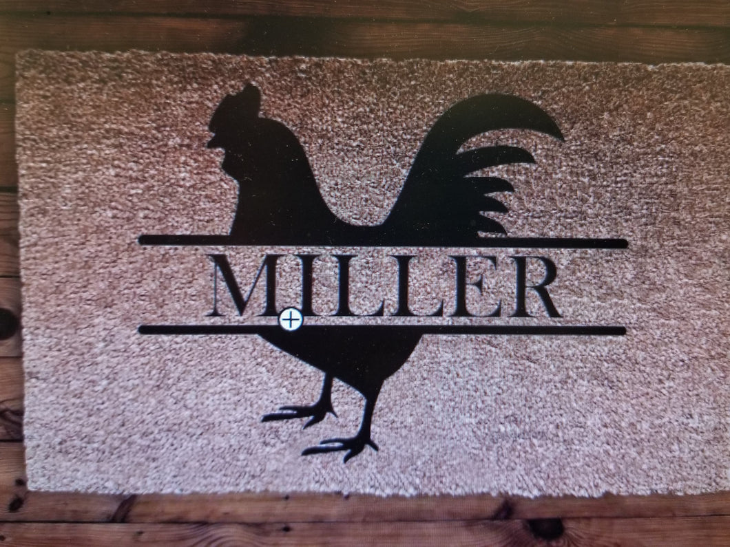 Rooster Monogram (custom doormat)