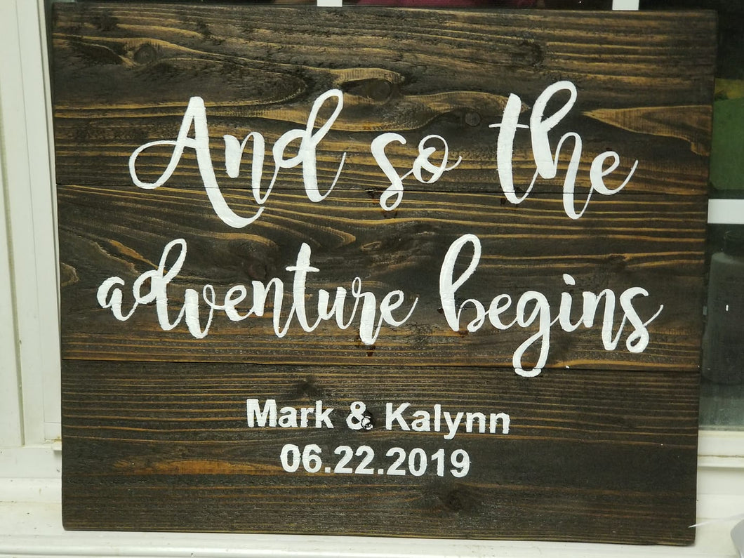The Adventure begins - wedding display