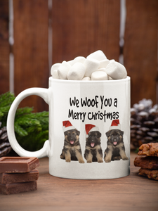 We Woof You a Merry Christmas - German Shepherd Puppy trio