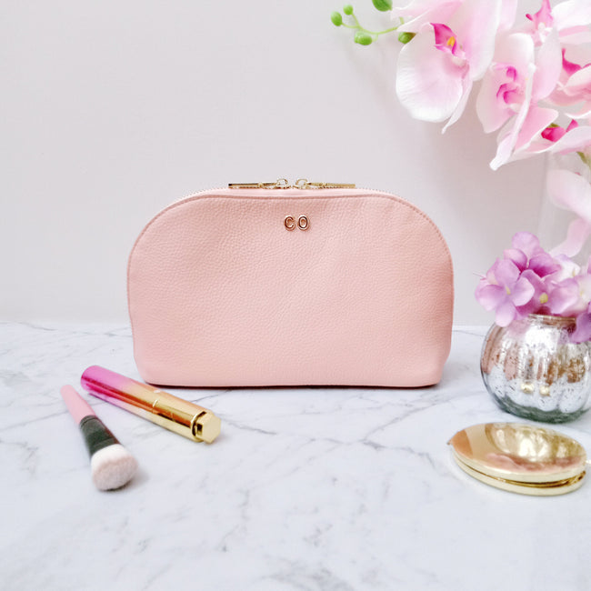 Personalised Leather Cosmetic Bag | Light Pink Cosmetic Bag Vayne Accessories