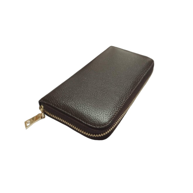 personalised dark brown leather long zip wallet-Vayne Accessories