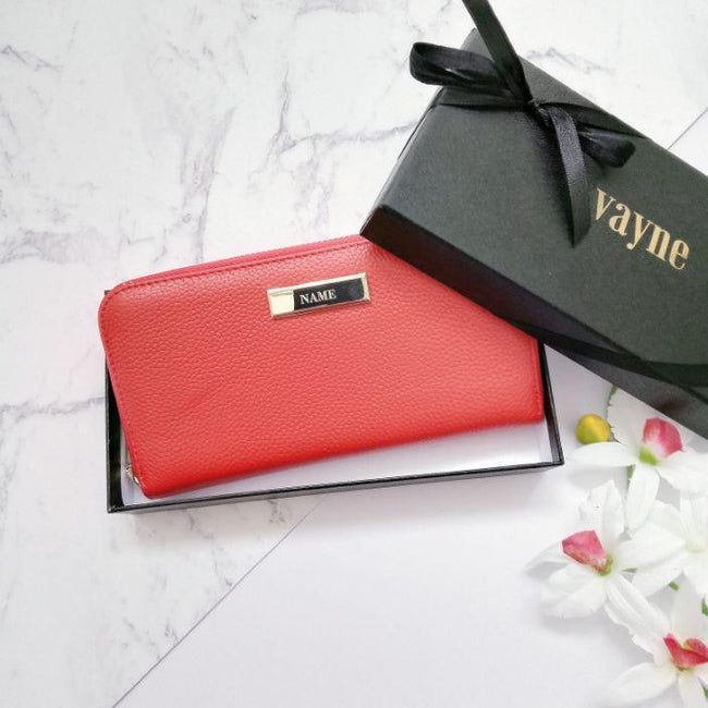 Personalised Leather Long Zip Wallet | Red Wallet Vayne Accessories
