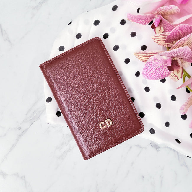Personalised Leather Passport Wallet | Burgundy Passport Wallet Vayne Accessories