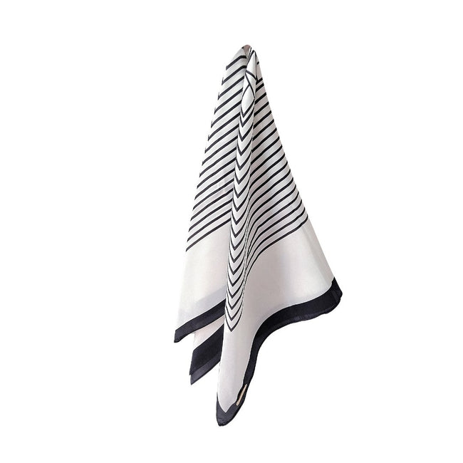 Personalised Silk Striped Scarf | Black and White Scarf Vayne Accessories