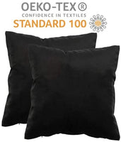 SMILETIME Pack of 2, Velvet Throw Pillow Covers for Couch Bed Sofa Car 18 x 18 Inches 45 x 45 cm | 100% Oeko-Tex Certified | Premium Soft Solid Decorative Square, Set Cushion Cases (Black)