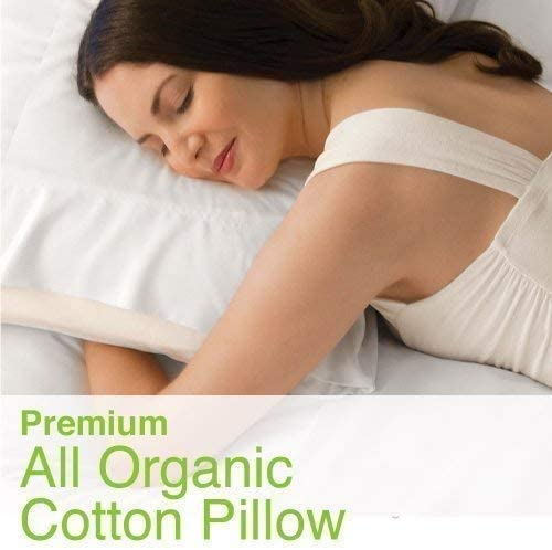 100% Organic Cotton Pillow, Medium Filled (Queen Size) with 100% Organic Cotton Cover Protector, Zippered, Adjustable Loft, Toxic Free, Machine Washable, Head and Neck Comfort Support