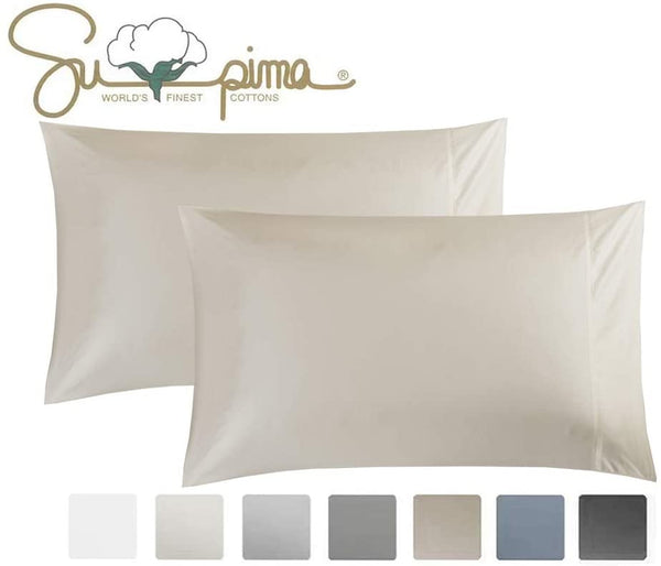 ELINEN King Pillowcase Set of 2, Luxury Hotel Pillow Cases, 100% Supima Cotton 600 Thread Count, Sateen Weave, Premium Quality King Pillowcase 2 Pieces