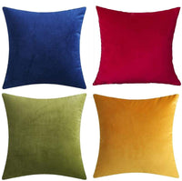 "Andreannie Set of 4 Mixed Color Velvet Super Soft Comfortable Cozy Solid Decorative Throw Pillow Cover Cushion Case for Sofa Living Room 18 inches,20 inches Square (Mixed 4 pcs, 18""x18"")"