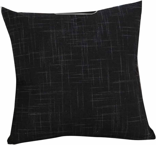 Freeby Cotton Linen Decorative Throw Pillow Covers Classical Square Solid Color Pillow Cases 18x18 inches Cushion Covers for Sofa Couch Bed Car (Black)