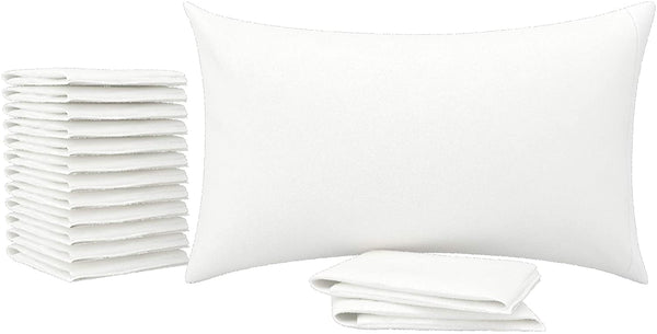 AVEESHA Pack of 12 White Pillow Cases Standard Size - 180 thread count Percale Fabric - Shrinkage, Wrinkle, and Fade Resistance - Perfect Pillow Covers for Hotel and Hospital Use and Gift Purpose