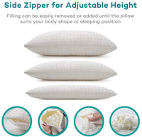 Sable Shredded Memory Foam Pillow with Thickened Bamboo Pillowcase for Sleeping , CertiPUR-US & FDA Registered w/Home & Hotel Collection for Side Sleepers, Neck Pain Relief, Queen Size