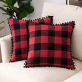 Woaboy Pack of 2 Pompom Plaids Throw Pillow Covers Cotton Decorative Pillowcases Solid Soft Cotton Linen Cushion Covers with Poms Square Cojines for Couch Room Sofa Bedroom 18x18inch Red and Black