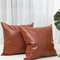 blue page Neutral Faux Leather Decorative Throw Pillow Covers 18X18 - Set of 2 Pillow Cases for Couch Sofa Bed, Modern Brown Faux Leather Pillowcases, Farmhouse Square Solid Cushion Case Set