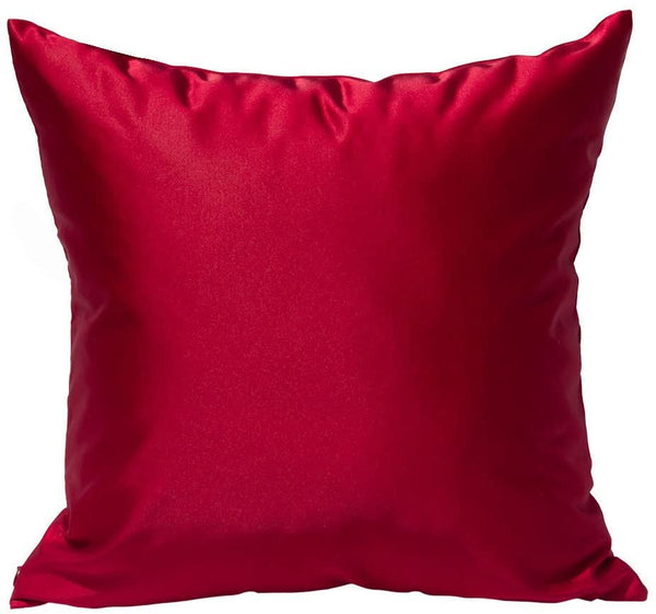 "TangDepot Solid Silky Throw Pillow Covers, Shining and Luxury Cushion Covers, Square Decorative Pillow Covers, Indoor/Outdoor Pillows Shells - (20""x20"", Red)"