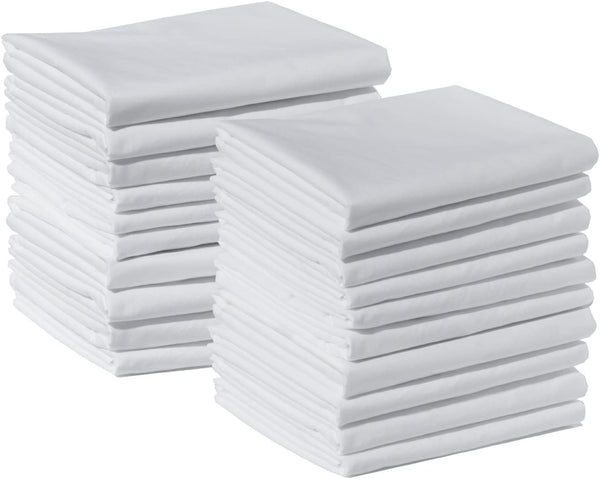 American Pillowcase Brushed Microfiber Standard Size Pillow Case Set, Pack of 20, White