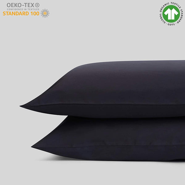 "100% Organic Cotton King Pillow Case Set | Cal King Pillow Case Set | Dark Gray | 20"" x 40"" 