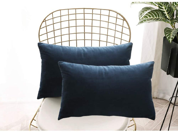 FanHomcy Velvet Pillow Covers Decorative Throw Pillows Shams Lumbar Solid Luxury Soft Pillowcase Cushion Covers for Couch Bed,2 Pack,12 x 20 inch,Navy Blue