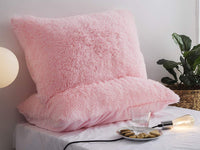 Ceruleanhome 2pc 100% Velvet Flannel Pillow Shams, Solid Color, No Inside Filler (2pc King Pillow Cases Fluffy, Pink)
