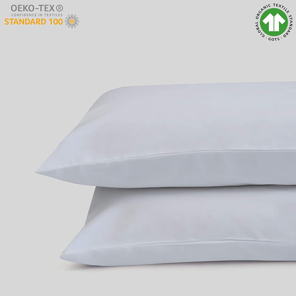 "100% Organic Cotton King Pillow Case Set | Cal King Pillow Case Set | White | 20"" x 40"" 