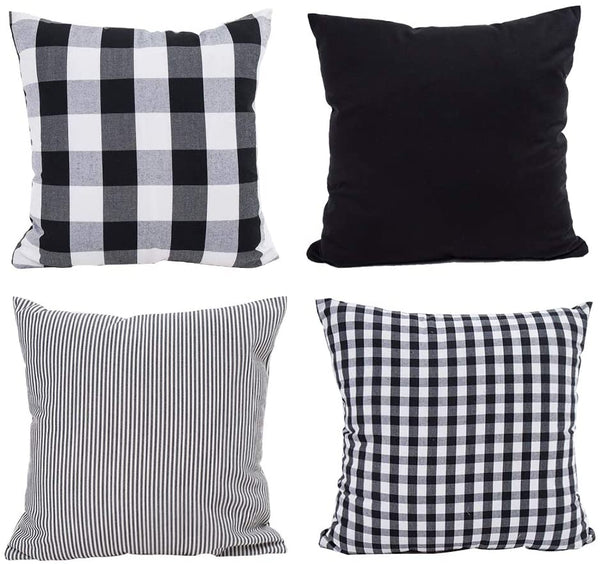 TEALP Spring Pillow Covers 18x18 Plaid Pillow Cover Buffalo Check Throw Pillow Covers 18 x 18 in Cushions for Sofa, Grass Green and White,4 Pack