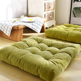 EGOBUY Solid Square Floor Pillow Tufted Thicken Chair Pad Tatami Thicken Seat Cushion, 22x22 Inch, Green