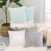 Home Brilliant Solid Soft Velvet Cushion Cover Spring Decorations Throw Pillow Cover for Baby Boy 18 x 18 inch 45cm, Light Blue
