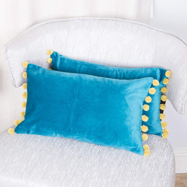 DOLLMEXX Decorative Pillow Covers with Pom Poms Soft Velvet Solid Cushion Covers for Couch Bedroom Car, Set of 2, 12 X 20 Green