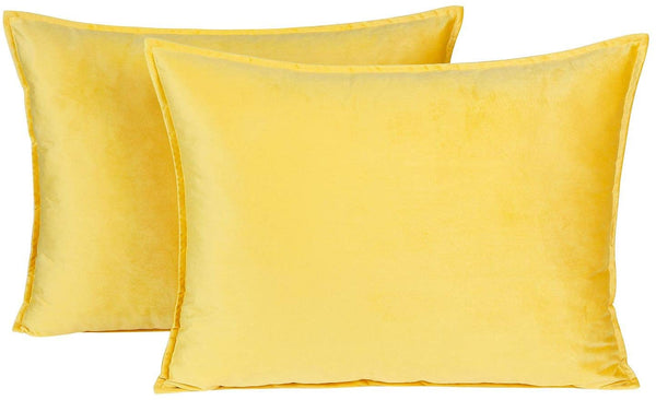 Colorxy Standard Velvet Pillow Shams - Set of 2 Decorative Throw Pillow Covers Soft Solid Pillow Case Cushion Covers for Couch, Sofa, Bedroom (20 x 26 Inch, Lemon Yellow)