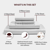 SGI bedding 1000 Thread Count 100% Egyptian Cotton King Size Pillowcase 20X40 White Solid (Pack of 2)